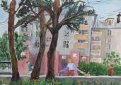 """Парфентьева Анастасия, """"Городской пейзаж, вид на центральную библиотеку"""""""